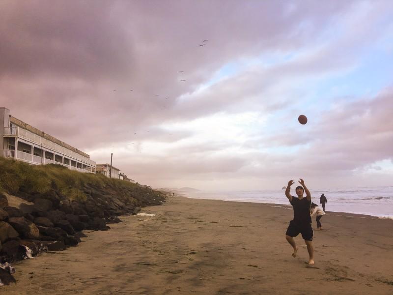 Football on Rockaway Beach