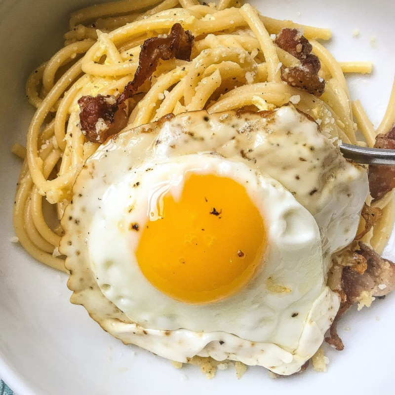 Bucatini with Pancetta and Egg, Lardo Recipe