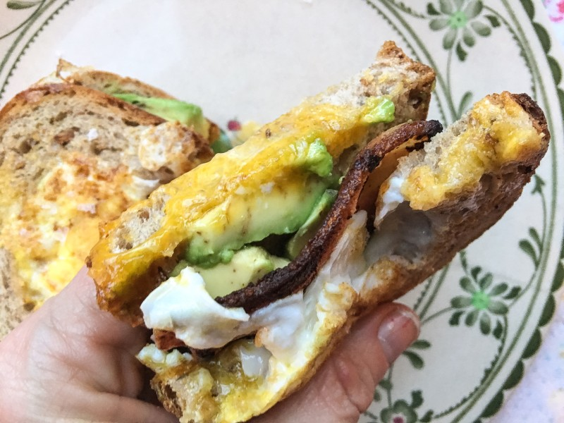 Egg Sandwich with Bacon and Avocado