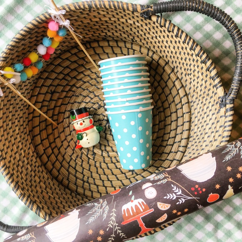 Basket, Snowman, Cups and Paper Found at Goodwill Outlet Bins