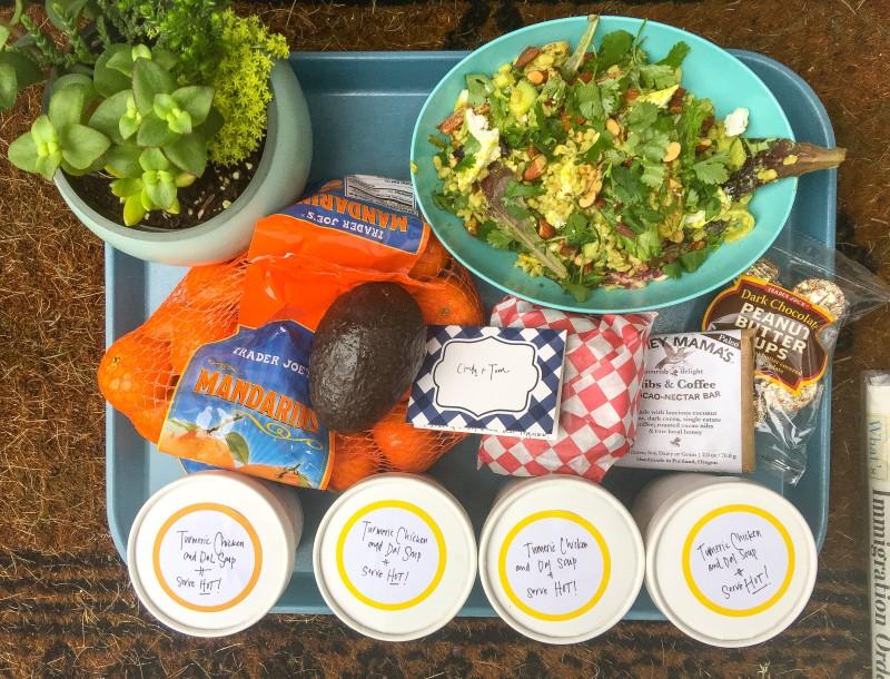 barley and vegetables salad -- friend drop off
