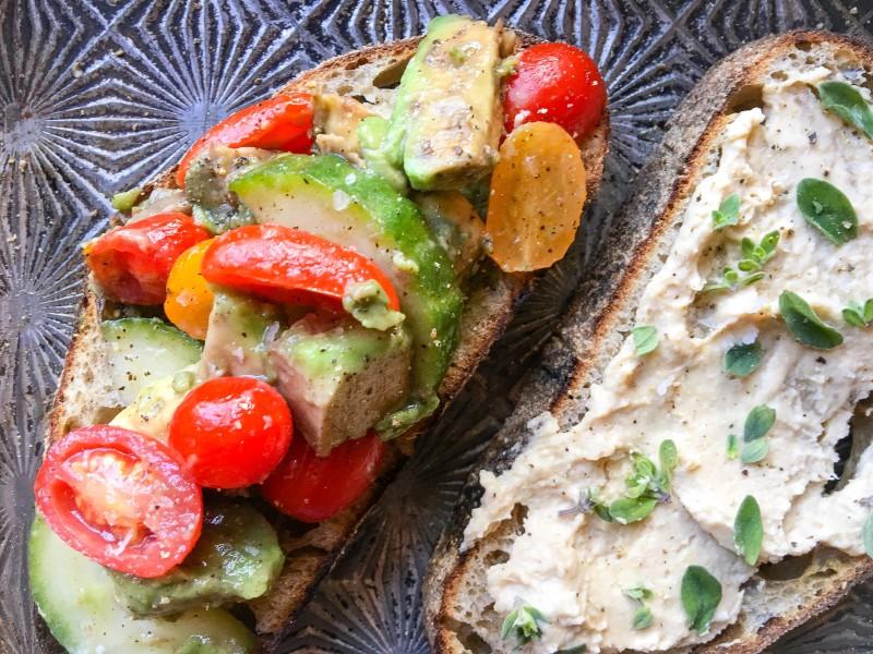 Bruschetta with Avocado, Tomatoes, Cucumber and Hummus
