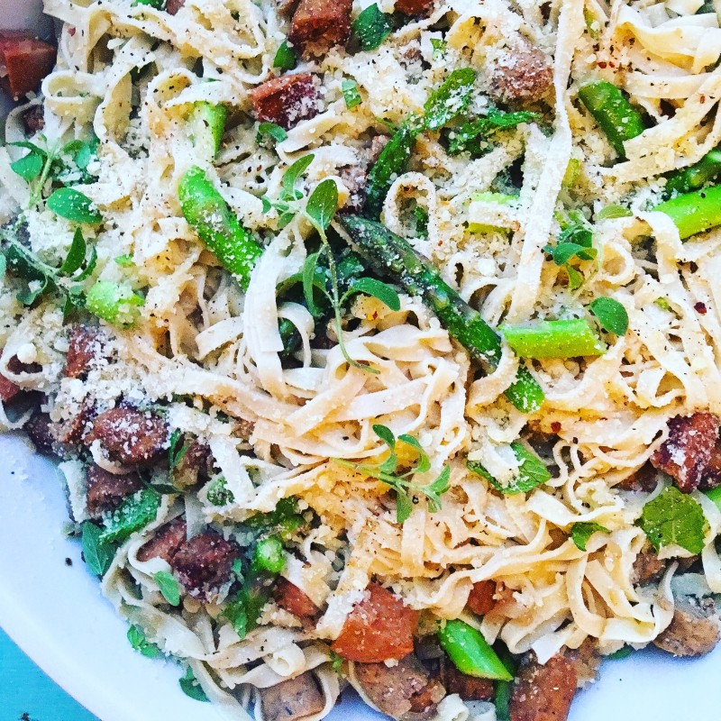 Pasta with Asparagus, Sausage and Lemon Zest