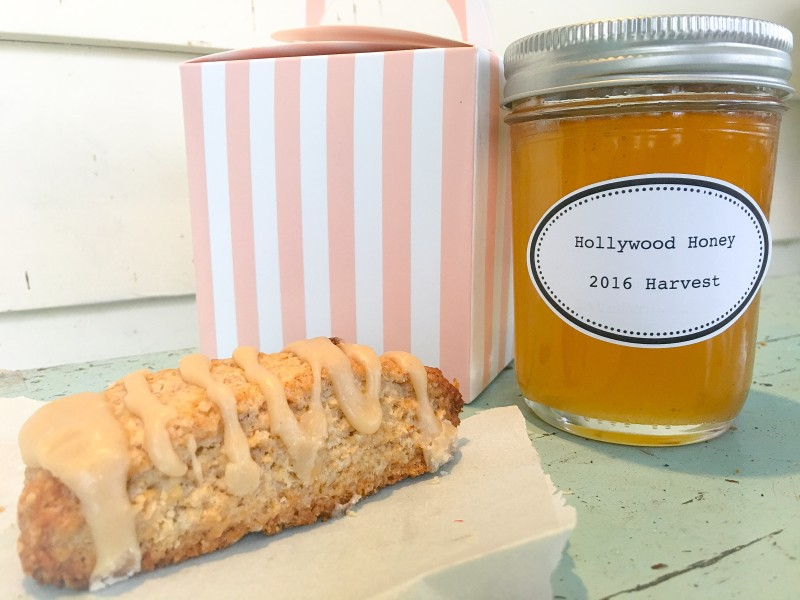 Gifts on Porch, Scones and Honey