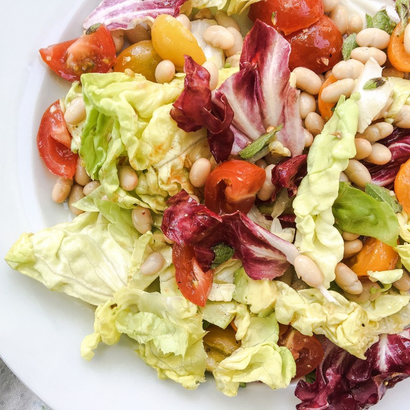 white bean salad with tomatoes and radicchio