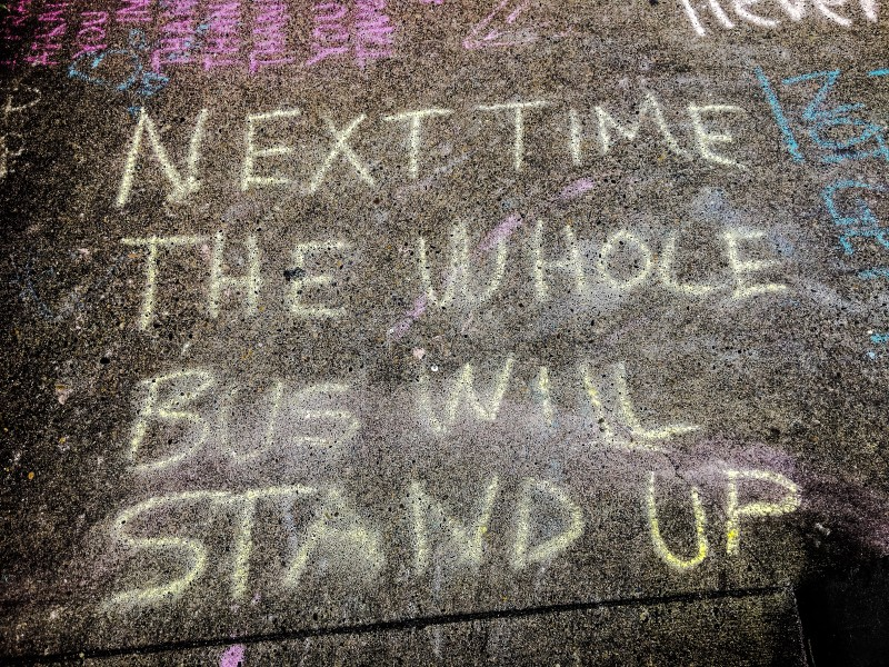 Sidewalk Chalk Art Memorial to Stabbing Victims, Portland
