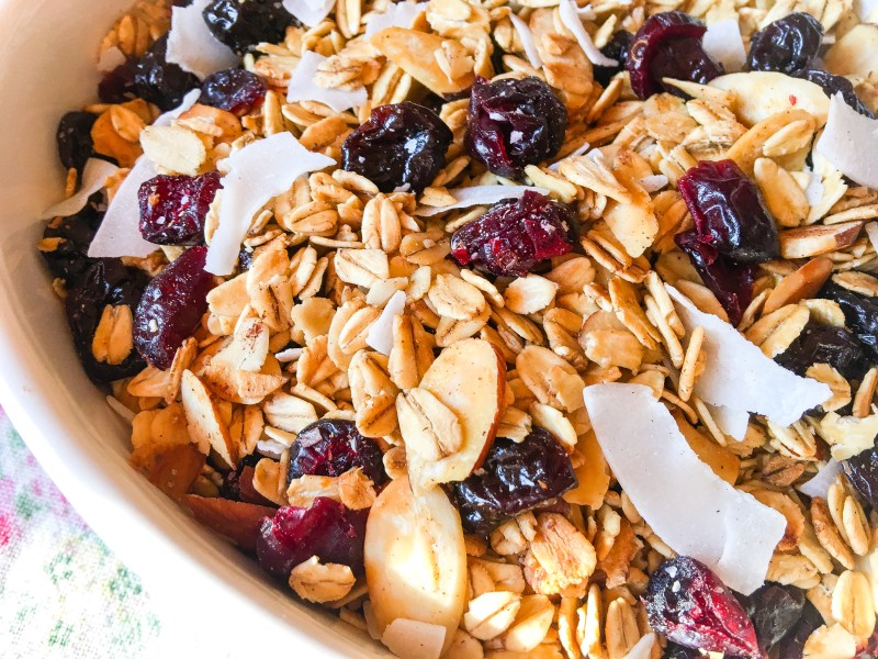 homemade granola with cherries and coconut