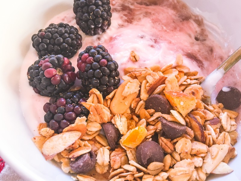 Chocolate Orange Granola with Blackberries