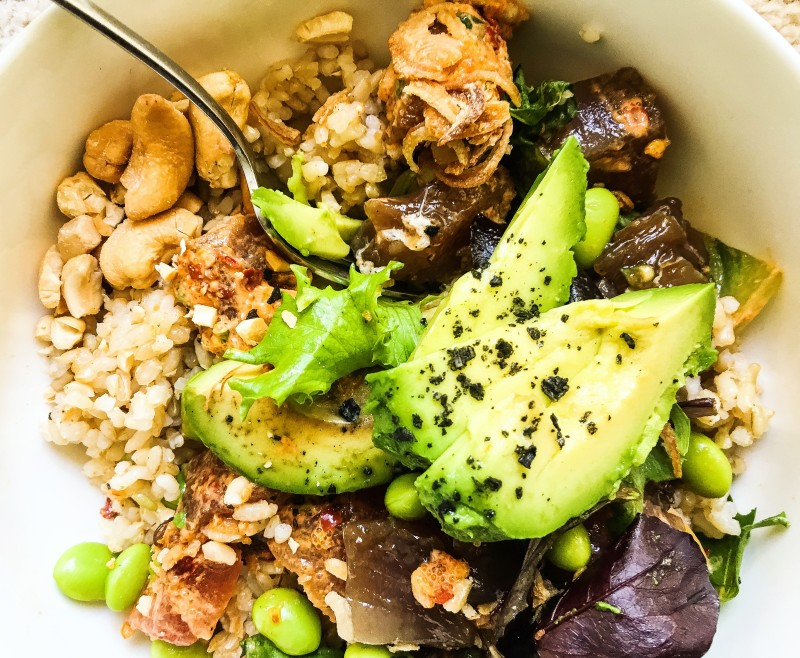 Ahi Tuna Poke Bowl with Avocado and Cashews