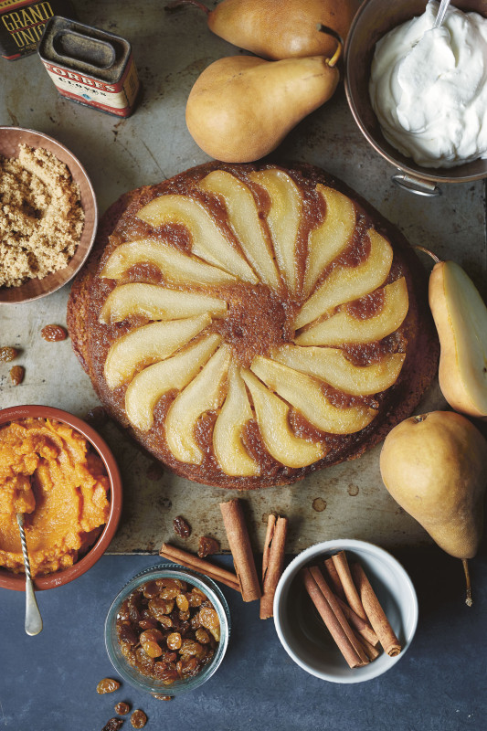 Pear Upside Down Cake with Caramelized Pears from Country Cat