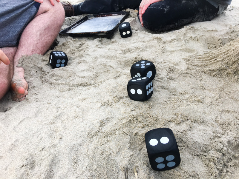 playing farkle in the sand beach