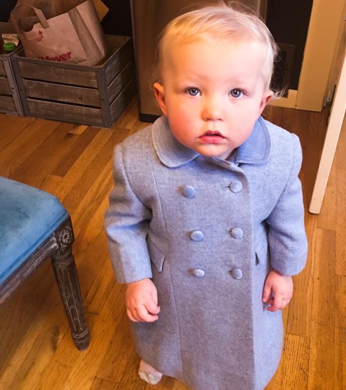 Emilia in blue coat