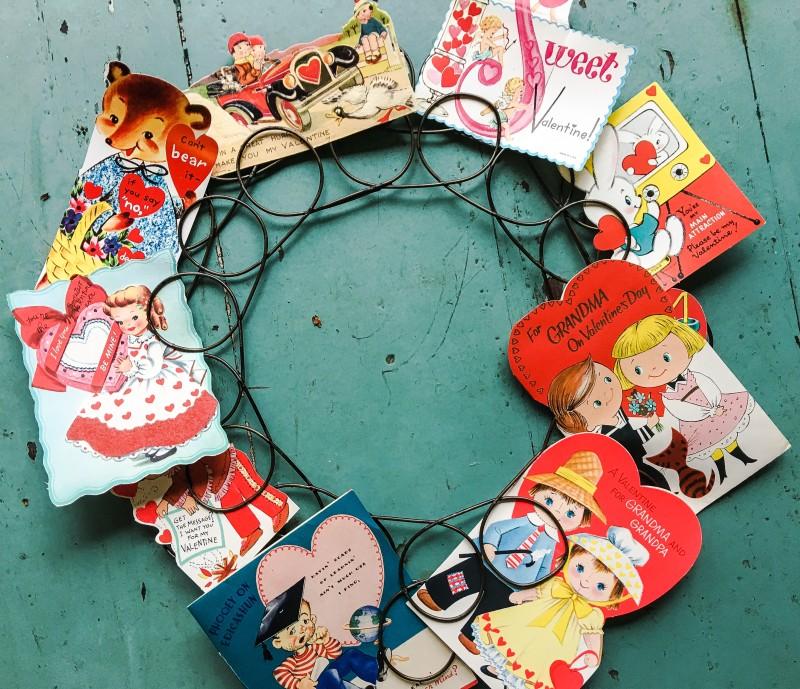 Vintage Wreath Valentines Day Cards