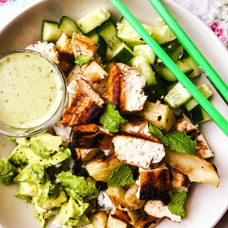 Grilled Tofu Rice Bowl with avocado and cucumber