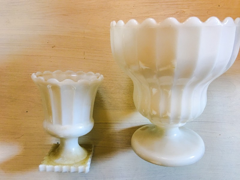 Vintage Ivory Vases Milk Glass Goodwill BIns Outlet