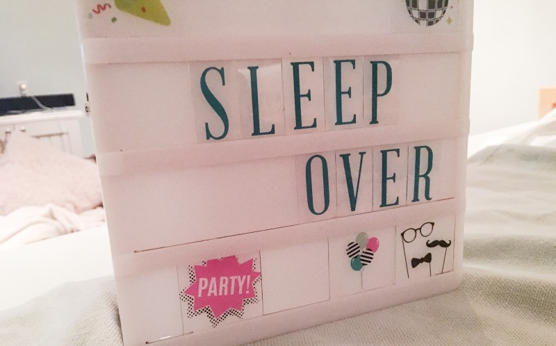 sleep over sign, cooking for a crowd