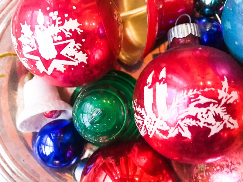 vintage holiday ornaments from goodwill outlet bins