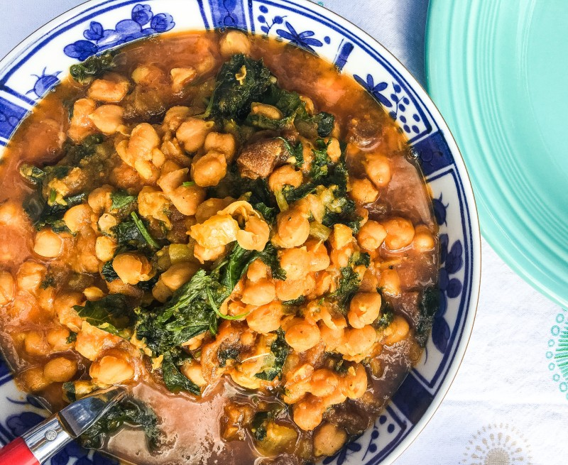Chickpeas and Kale in Instapot