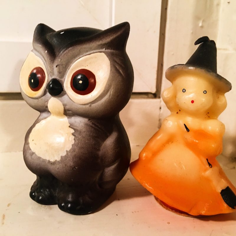 Halloween Owl and Witch Candle