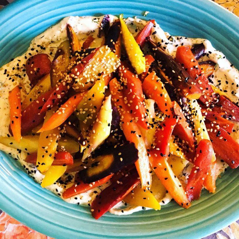 roast carrots with hummus