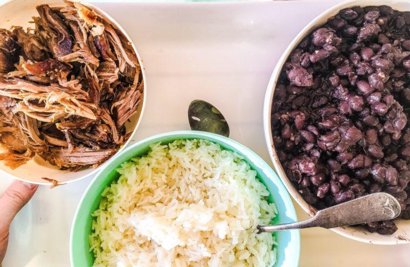 pork carnitas and black beans