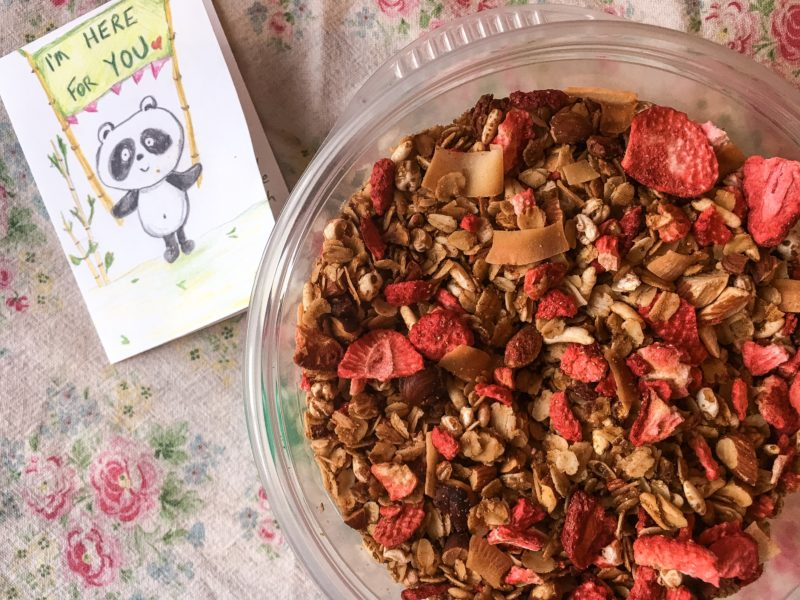 friend granola drop off porch food gift