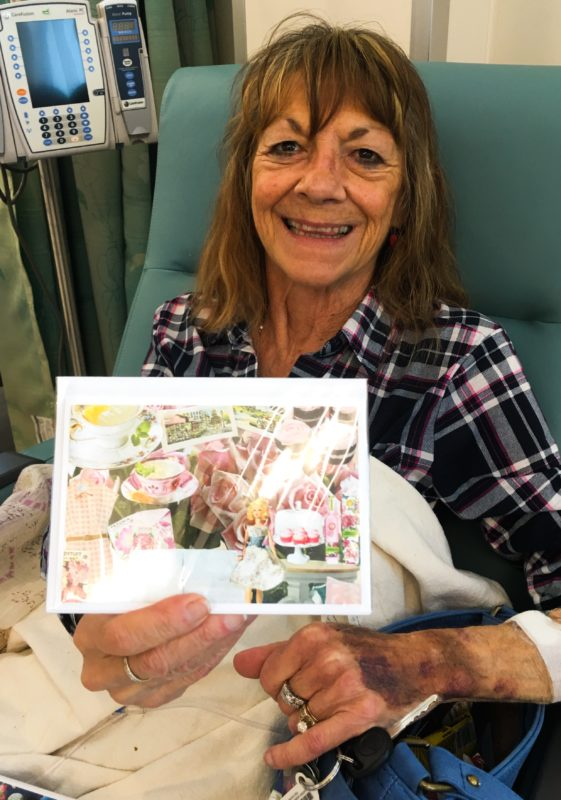 chemo patient with cards
