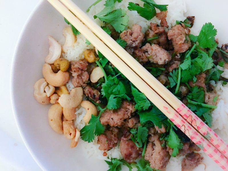 turkey larb with rice and cashews