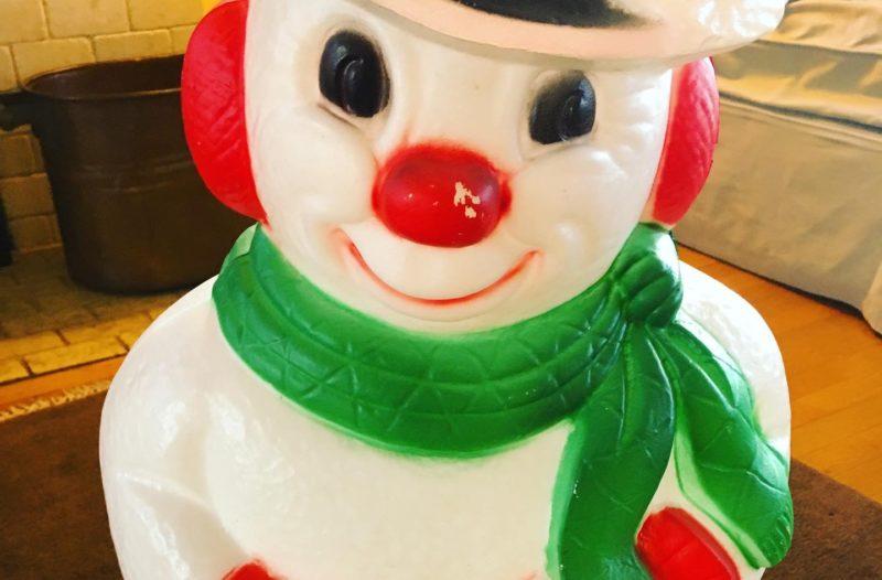 Vintage Blow Mold Snowman Goodwill Bins