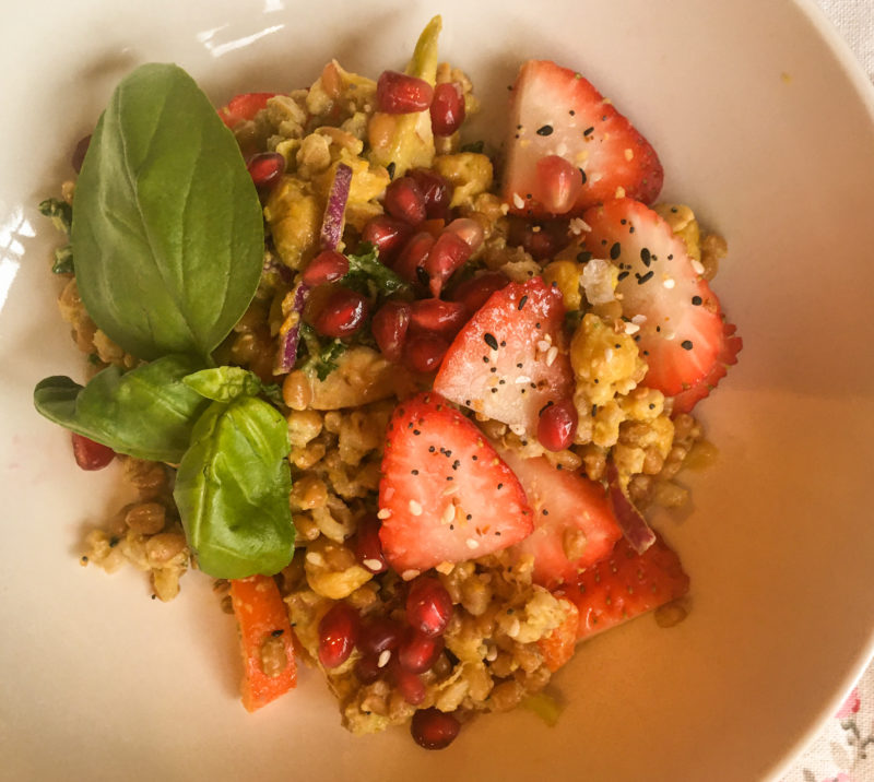 Wheatberry Salad with tahini and strawberries