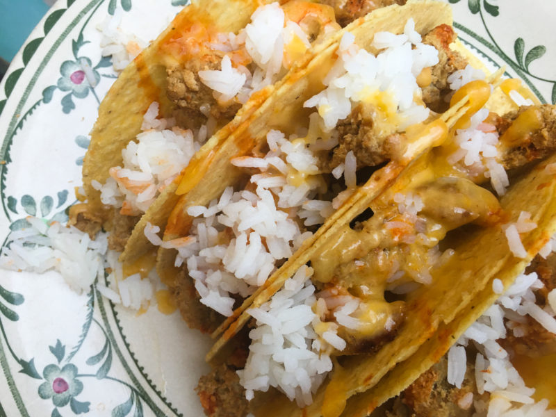 tacos with melted cheese