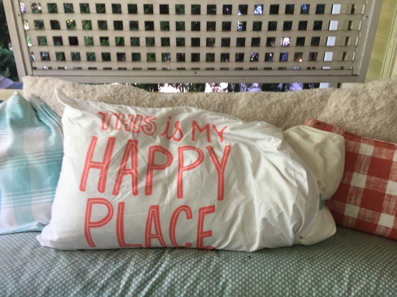 pillows on porch