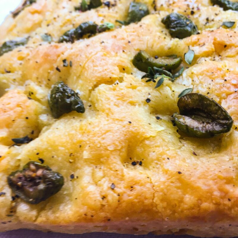Focaccia with green olives